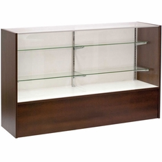 """Full Vision Display Case 60"""" Chocolate Cherry Assembled"""