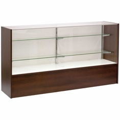 """Full Vision Display Case 70"""" Chocolate Cherry Assembled"""