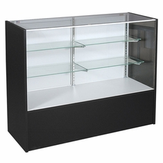 """Full Vision Display Case with Light 48"""" Black Assembled"""