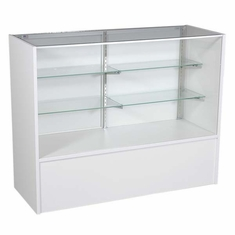 """Full Vision Display Case with Light 48"""" White Assembled"""
