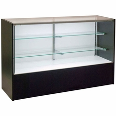 """Full Vision Display Case with Light 60"""" Black Assembled"""