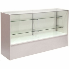 """Full Vision Display Case with Light 60"""" White Assembled"""