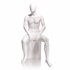 Gene Male Mannequin Oval Head Seated White