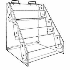 Gridwall Acrylic 4-Tier Racks with Tilted Shelves