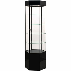 Hexagon Tower Display Case Black with Black Frame