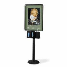 Infection Control Station Poster Frame with 3 Dispensers Black