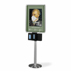 Infection Control Station Poster Frame with 3 Dispensers Silver