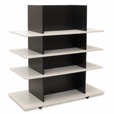 Knock Down Merchandiser Black W/ 3 White Shelves