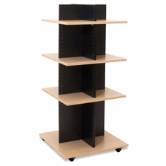 Knock Down Shelf Tower Merchandiser Black/Maple