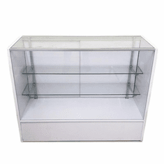 Low Cost Full Vision Glass Display Case 4' White