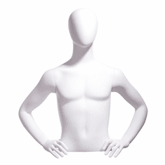 Male Bust Form, Oval Head, Hands on Hip