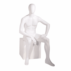 Male Mannequin Oval Head Facing Straight, Seated