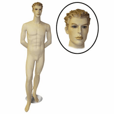 Male Mannequin w/ Arms Behind Back and Right Leg Forward