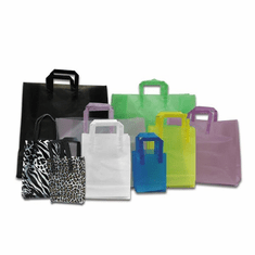 Plastic Folded Handle Frosted Shopping Bags with Cardboard Bottom