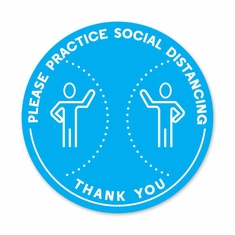 "Please Practice Social Distancing Floor Decal 12"" Dia Pack/5"