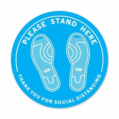 "Please Stand Here Floor Decal 12"" Dia Pack/5"