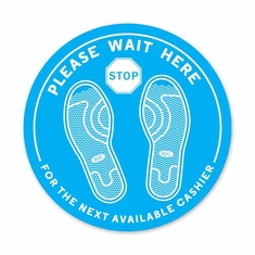 "Please Wait Here Floor Decal 12"" Dia Pack/5"