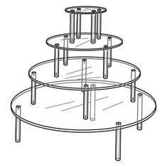 Quick Ship Acrylic 4 Tier Round Table Display