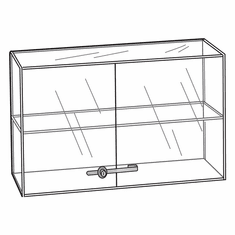 Acrylic Locking Double Door 1 Shelf Showcase