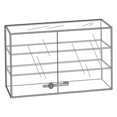 Acrylic Locking Double Door 2 Shelf Showcase