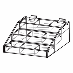 Quick Ship Acrylic Slatwall 3 Tiered Tray Displays