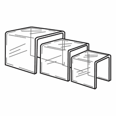 Clear Acrylic Square Large Risers Set of 3