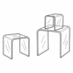 Clear Acrylic Square Small Risers Set of 3