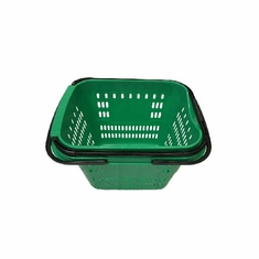 Rolling Shopping Basket with Pull Handle Green