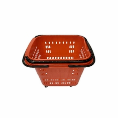 Rolling Shopping Basket with Pull Handle Red