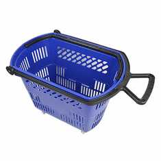 Shopping Basket on Wheels with Pull Handle Blue