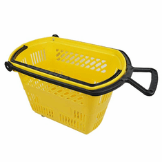 Shopping Basket on Wheels with Pull Handle Yellow