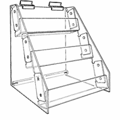 Slatwall Acrylic 3-Tier Racks with Tilted Shelves