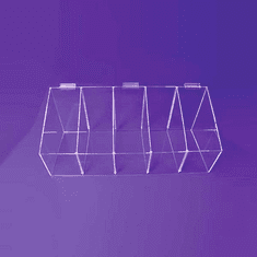 Slatwall Acrylic Divided Bin Display 8x24x8