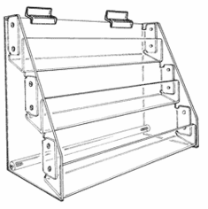 Slatwall Acrylic Racks with Angled Shelves