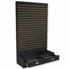 Slatwall L Shaped Merchandiser with Drawers Black