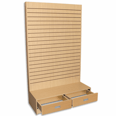 Slatwall L Shaped Merchandiser with Drawers Maple