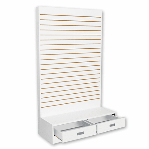 Slatwall L Shaped Merchandiser with Drawers White