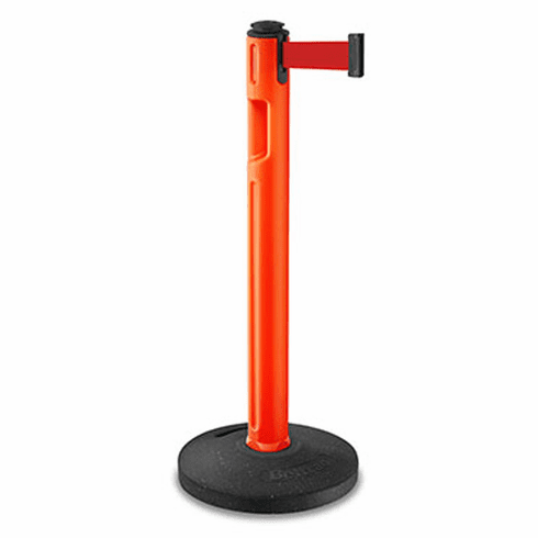 Tempest Portable Stanchion Post Orange With Rubber Base
