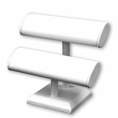 White Leatherette Double Oval Jewelry T-Bar