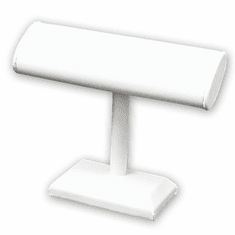 White Leatherette Single Oval T-Bar Jewelry Display