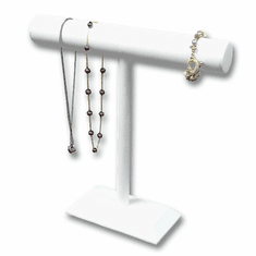 White Leatherette T-Bar Necklace Jewelry Display