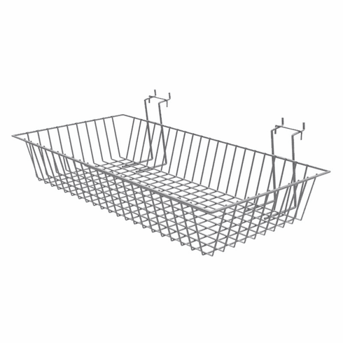 "Wire Baskets for Queuing System 24"" x 12"" x 4"" Silver"