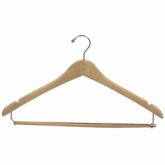 Wooden Contoured Suit Hanger with Locking Pant Bar (Box of 100)