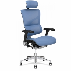 X3 Fabric Management Office Chair with Headrest Blue