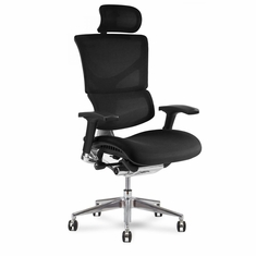 X3 Fabric Office Chair w/ Headrest & Memory Foam Wide Black