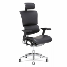 X4 Leather Executive Chair with Headrest Black