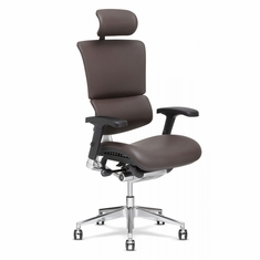 X4 Leather Executive Chair with Headrest Brown
