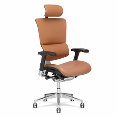 X4 Leather Executive Chair with Headrest Cognac