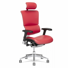 X4 Leather Executive Chair with Headrest Red