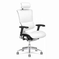 X4 Leather Executive Chair with Headrest White